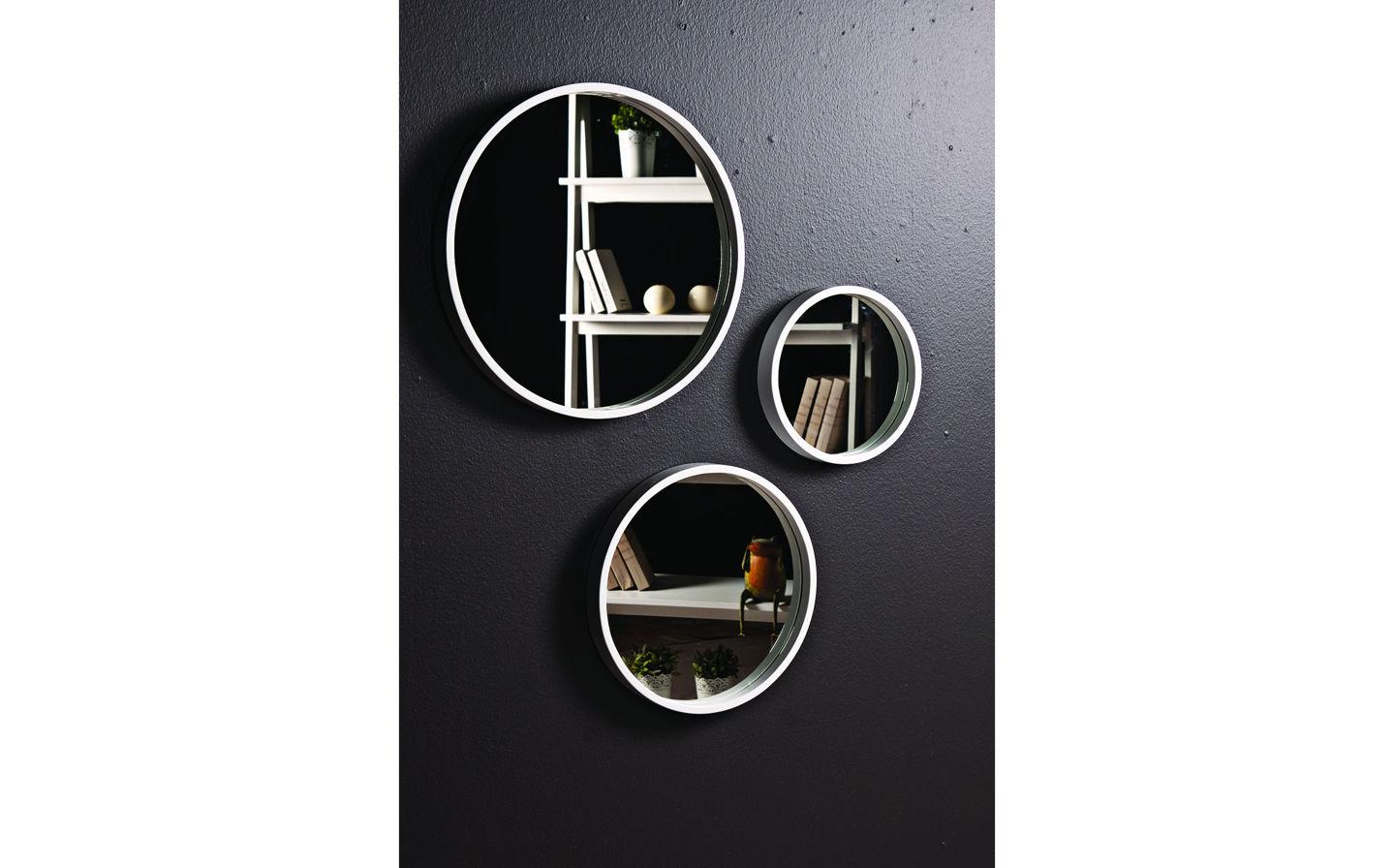 Luna Dekoratif Ayna 3'lü Takım Beyaz
