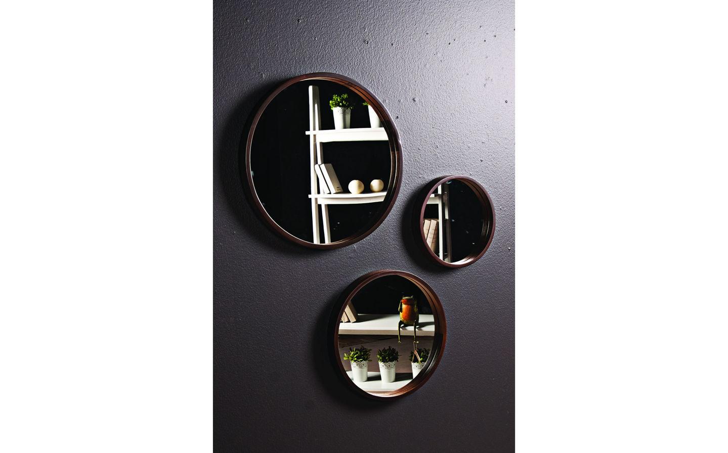 Luna Dekoratif Ayna 3'lü Takım Ceviz